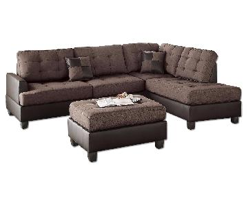 Chocolate Linen-like Fabric 3-Piece Sectional Sofa