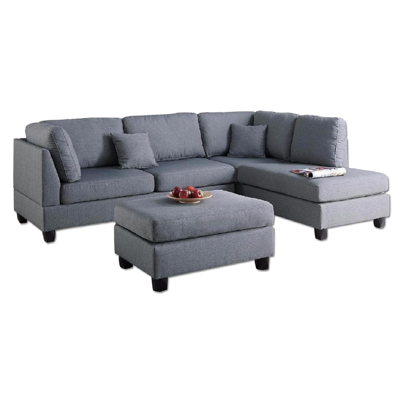 Grey Linen-Like 3-Piece Sectional Sofa & Ottoman