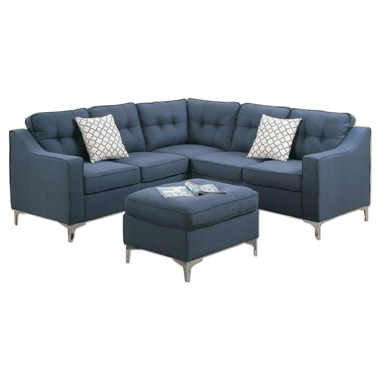 Blue Grey Linen 3 Piece Sectional Sofa
