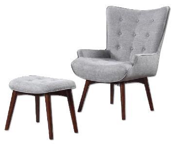 Grey Linen Fabric Chair & Stool