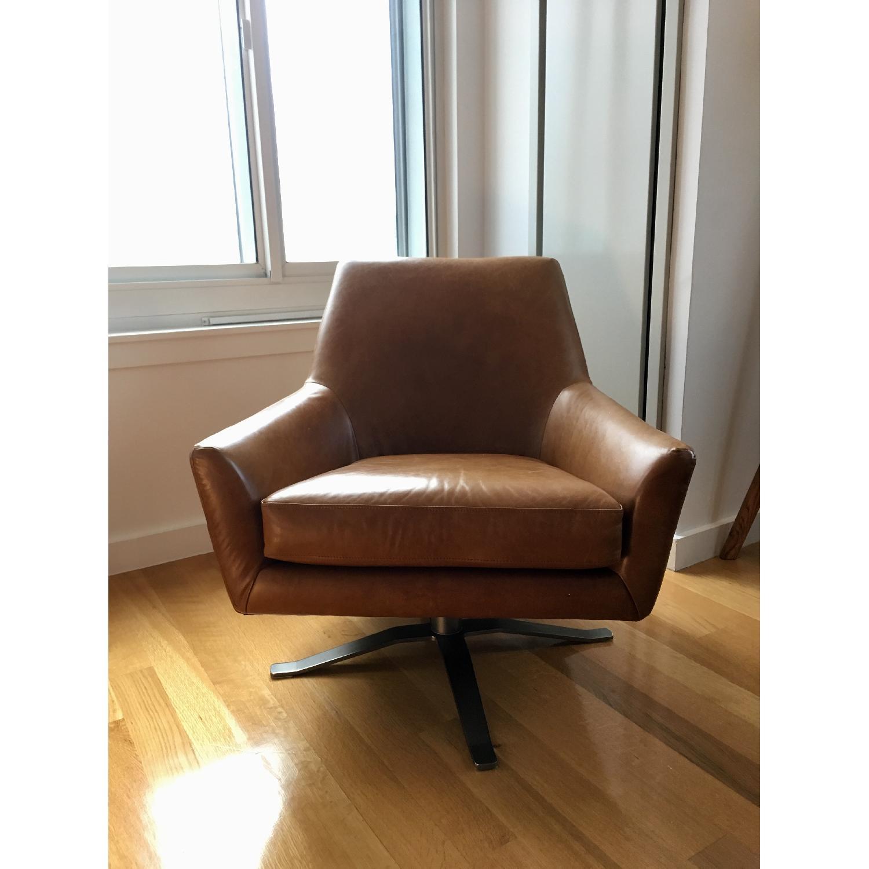 West Elm Lucas Leather Swivel Base Chair-0