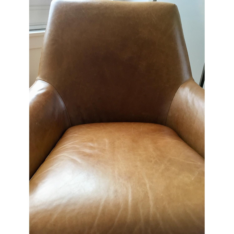 West Elm Lucas Leather Swivel Base Chair-1
