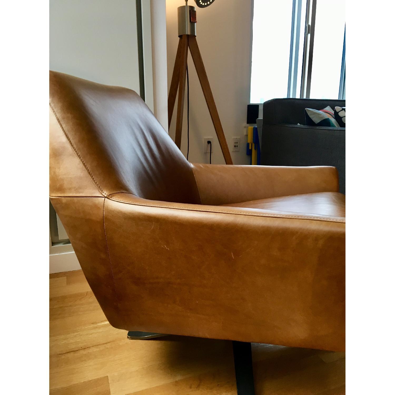 West Elm Lucas Leather Swivel Base Chair-2