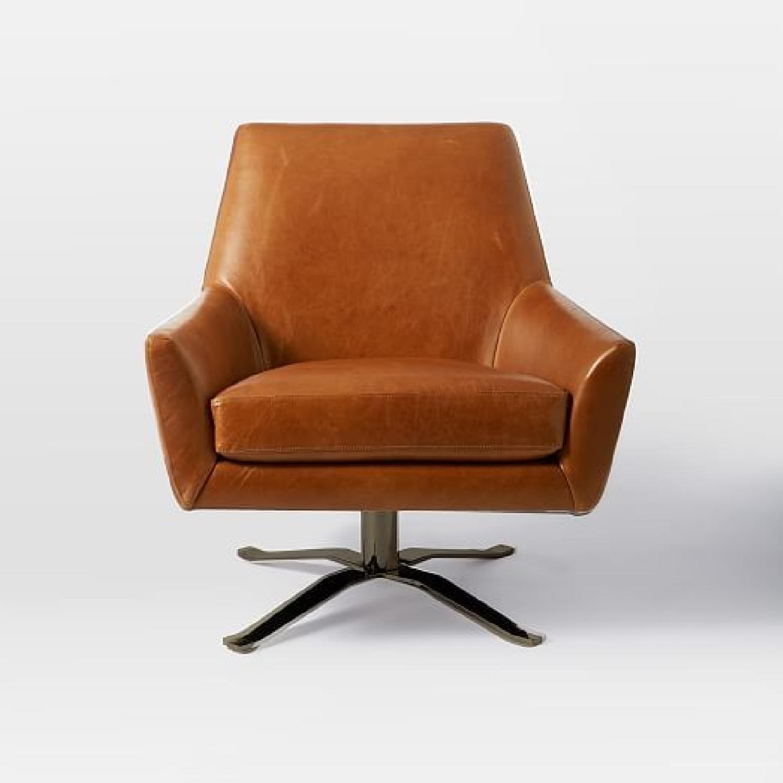 West Elm Lucas Leather Swivel Base Chair-4