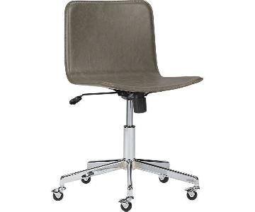 CB2 Form Faux White Leather Office Chair