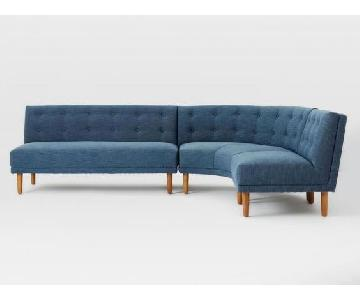 West Elm Retro Rounded 3 Piece Sectional in Regal Blue