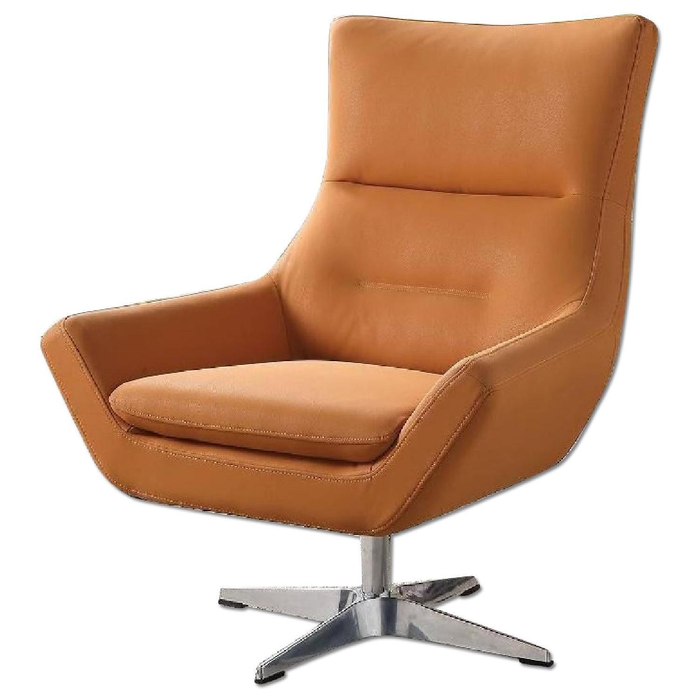 Swivel Chair in Orange Leatherette
