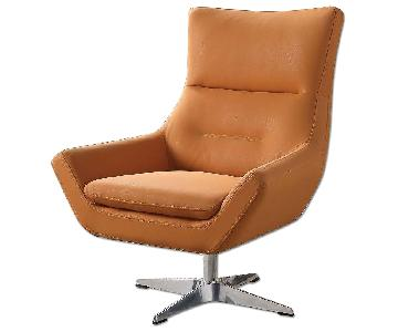 Swivel Chair in Orange Leatherette