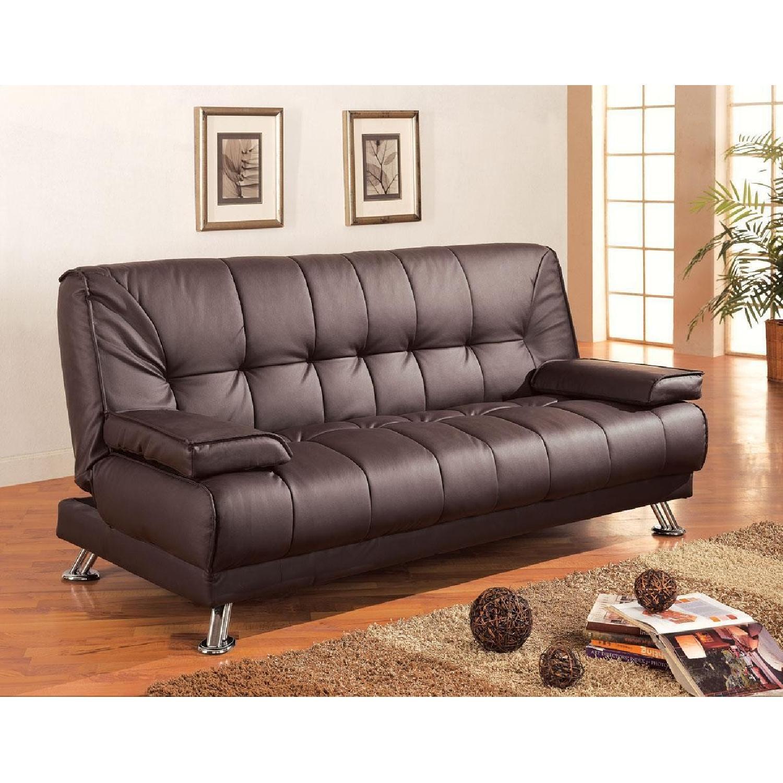 Coaster Fine Furniture Brown Leatherette Sleeper Sofa