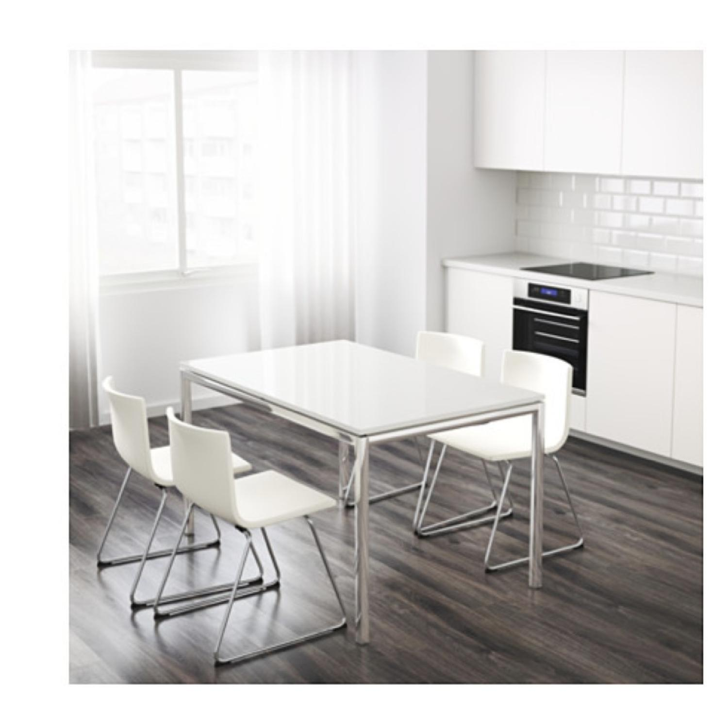 Ikea Torsby Chrome Plated High Gloss White Dining Table