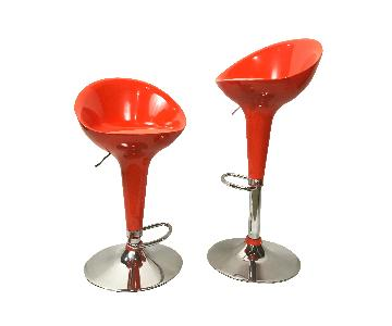 Orange & Chrome Retro Bar Stool