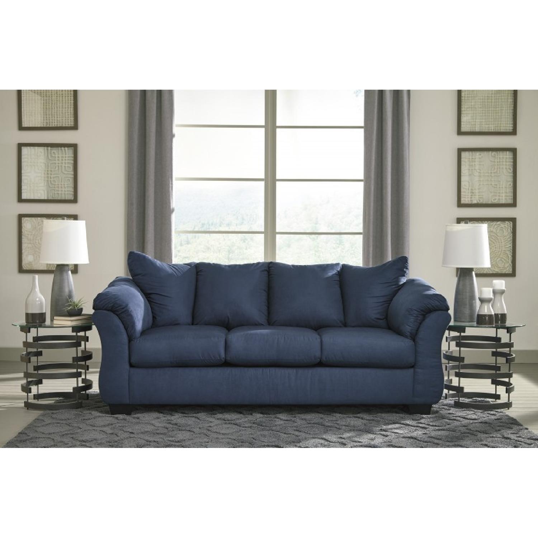 Ashley Darcy Blue Full Sofa Sleeper Aptdeco