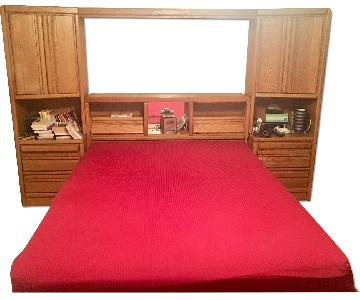 Queen Size Bed w/ Attached Wall Unit