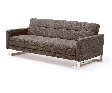 Brown Fabric Upholstered Sofa Bed