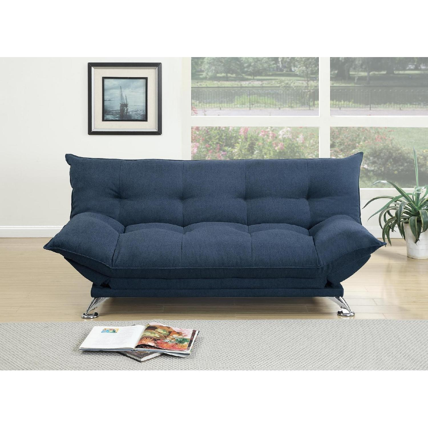Navy Linen Like Fabric Sofa Bed - AptDeco