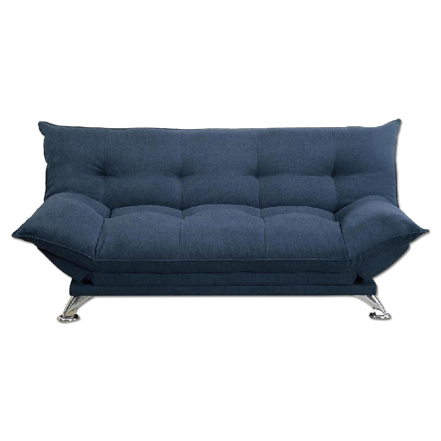 Navy Linen Like Fabric Sofa Bed