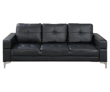 Poundex Black Leatherette Sofa Bed