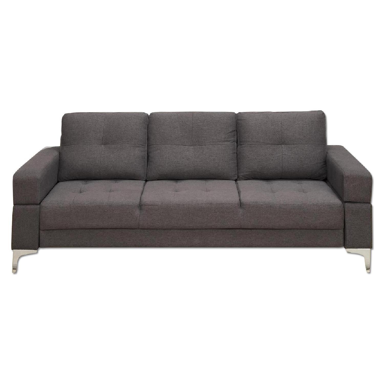 Dark Brown Linen Fabric Sofa Bed