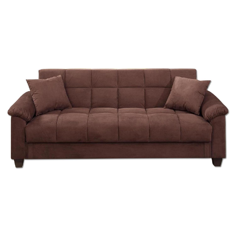 Poundex Chocolate Microfiber Sofa Bed - AptDeco
