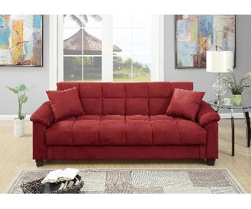 poundex red microfiber sofa bed
