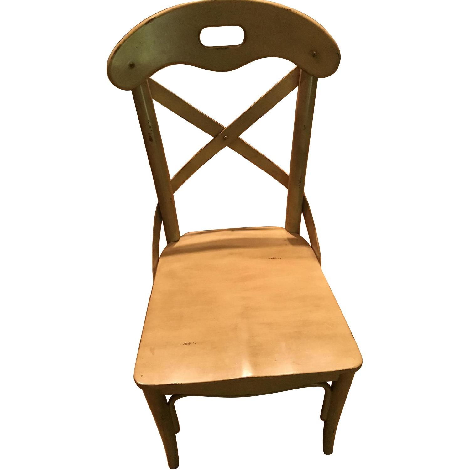 Pier 1 Curved Back Dining Chairs in Antique Ivory - Pair - image-0