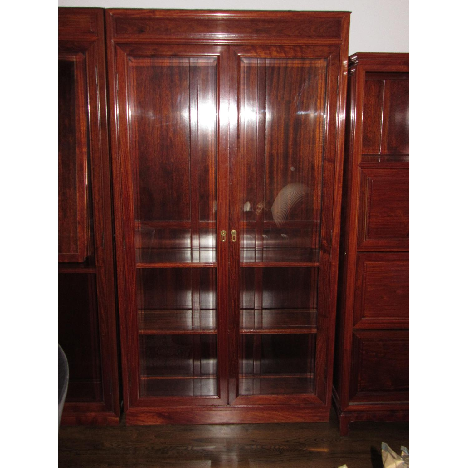 Rosewood Elm Glass Door Cabinets - 2 Available - image-1