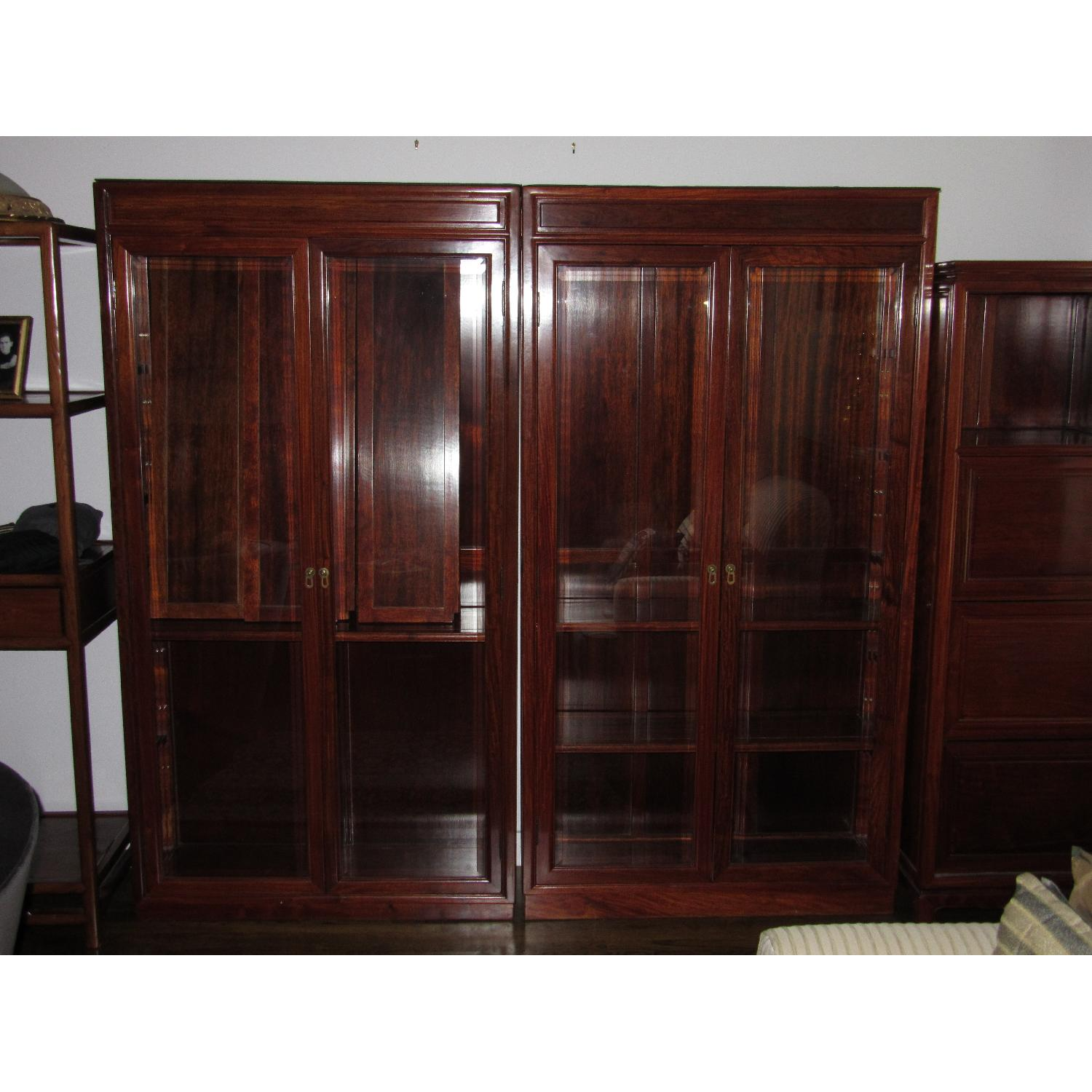 Rosewood Elm Glass Door Cabinets - 2 Available - image-2