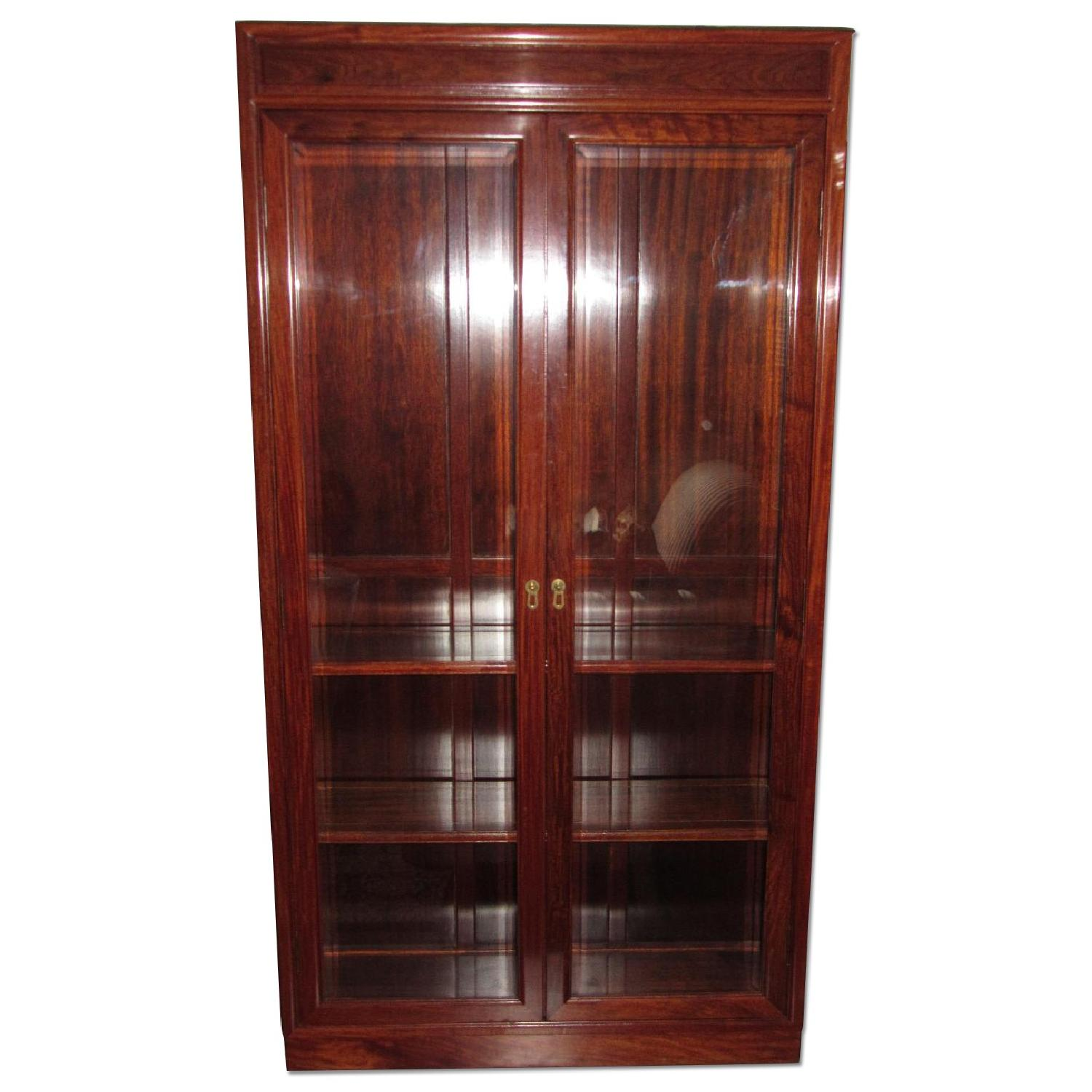 Rosewood Elm Glass Door Cabinets - 2 Available - image-0