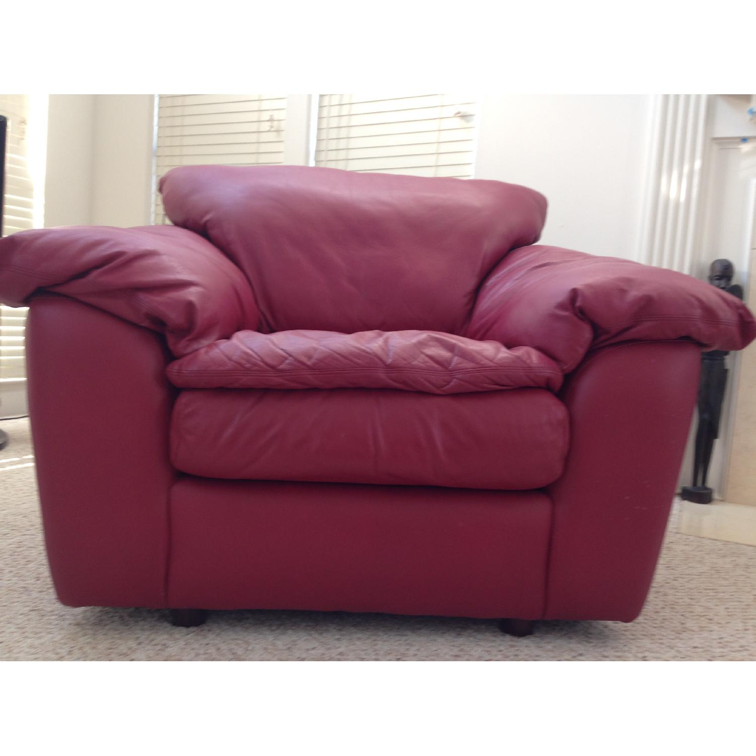 Century Leather Red Chair - image-1