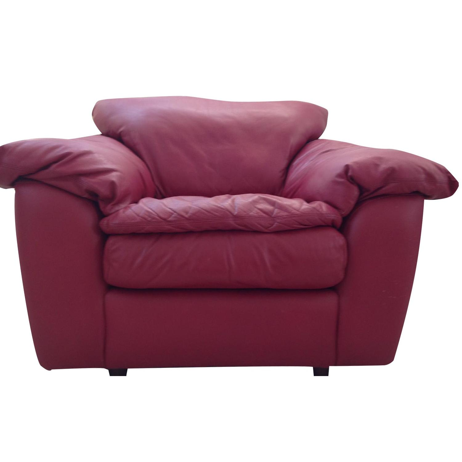 Century Leather Red Chair - image-0