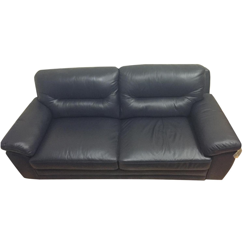 Raymour & Flanigan Leather Loveseat - image-0