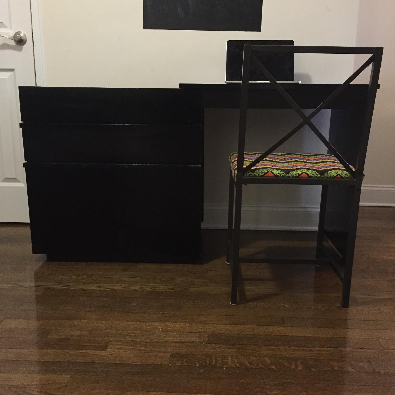 Crate & Barrel Convertible Compact Desk & File Cabinet - image-3