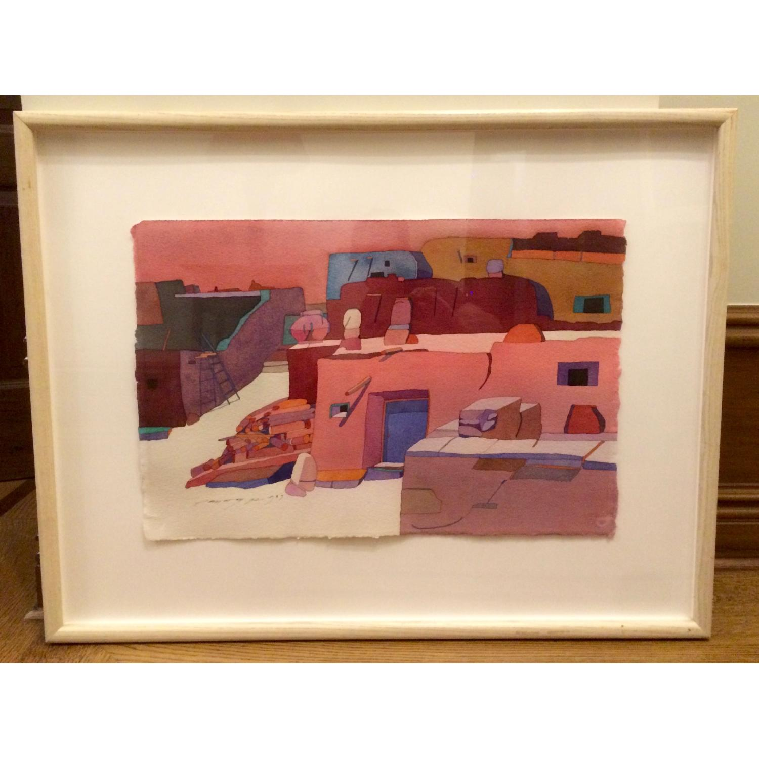 Framed Sari Staggs Watercolor Painting - Village Kiva with Fireplace - image-1