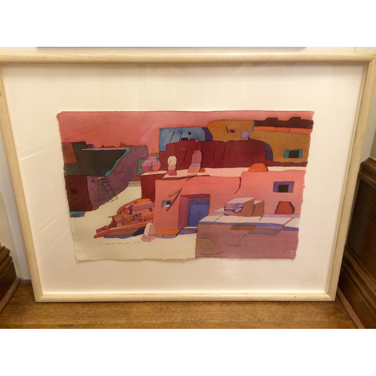 Framed Sari Staggs Watercolor Painting - Village Kiva with Fireplace - image-3