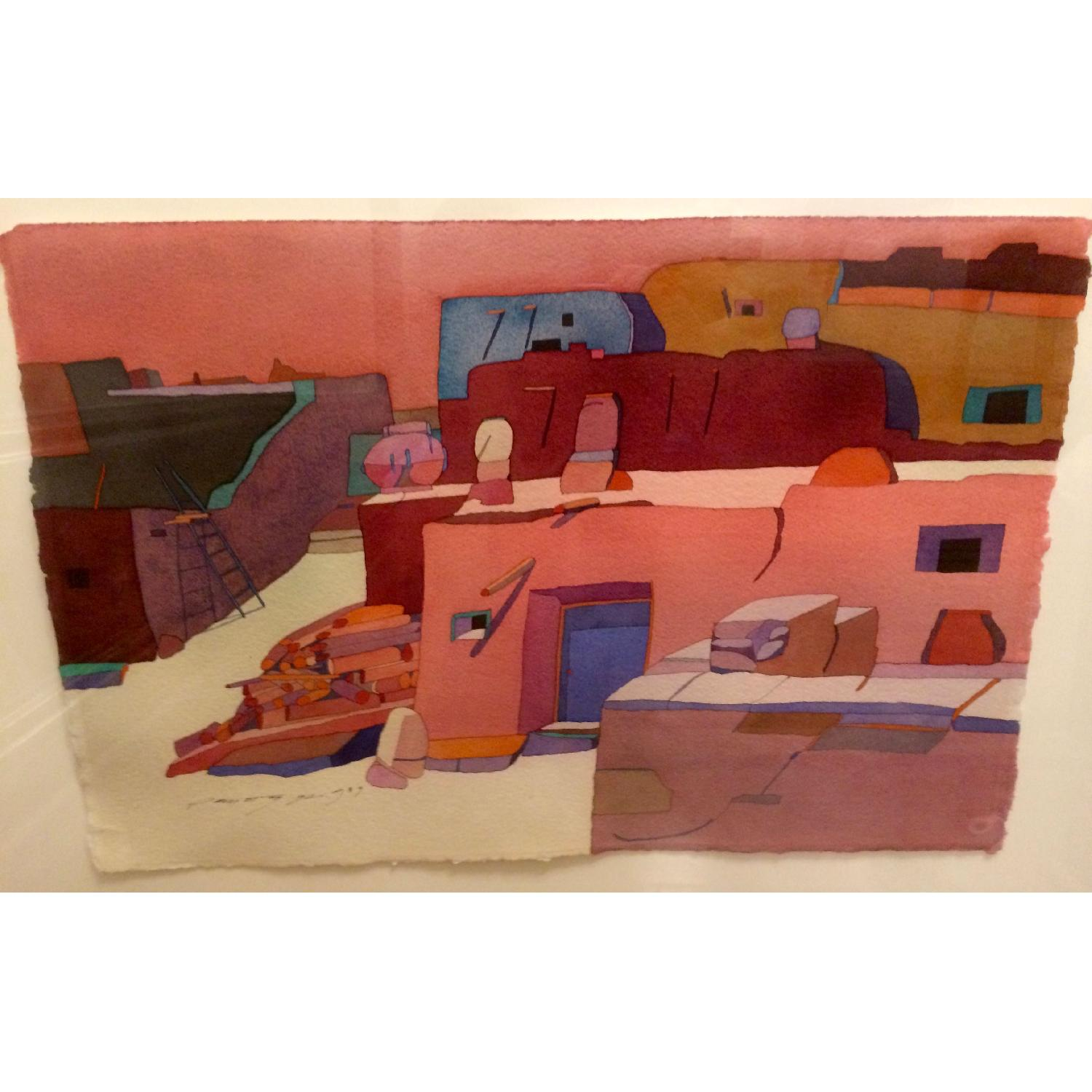 Framed Sari Staggs Watercolor Painting - Village Kiva with Fireplace - image-4