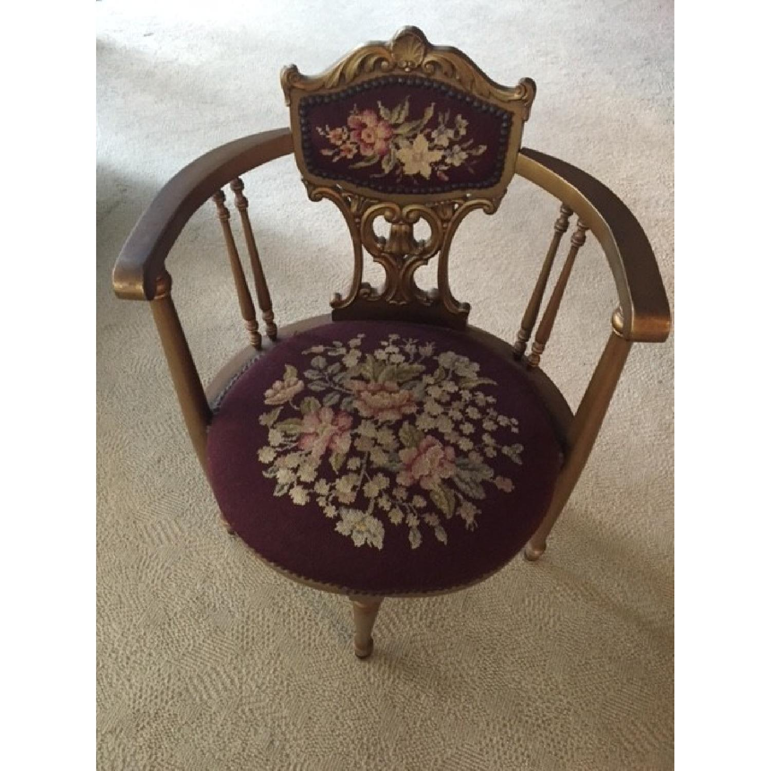 Antique French Provincial Giltwood Chair - image-1