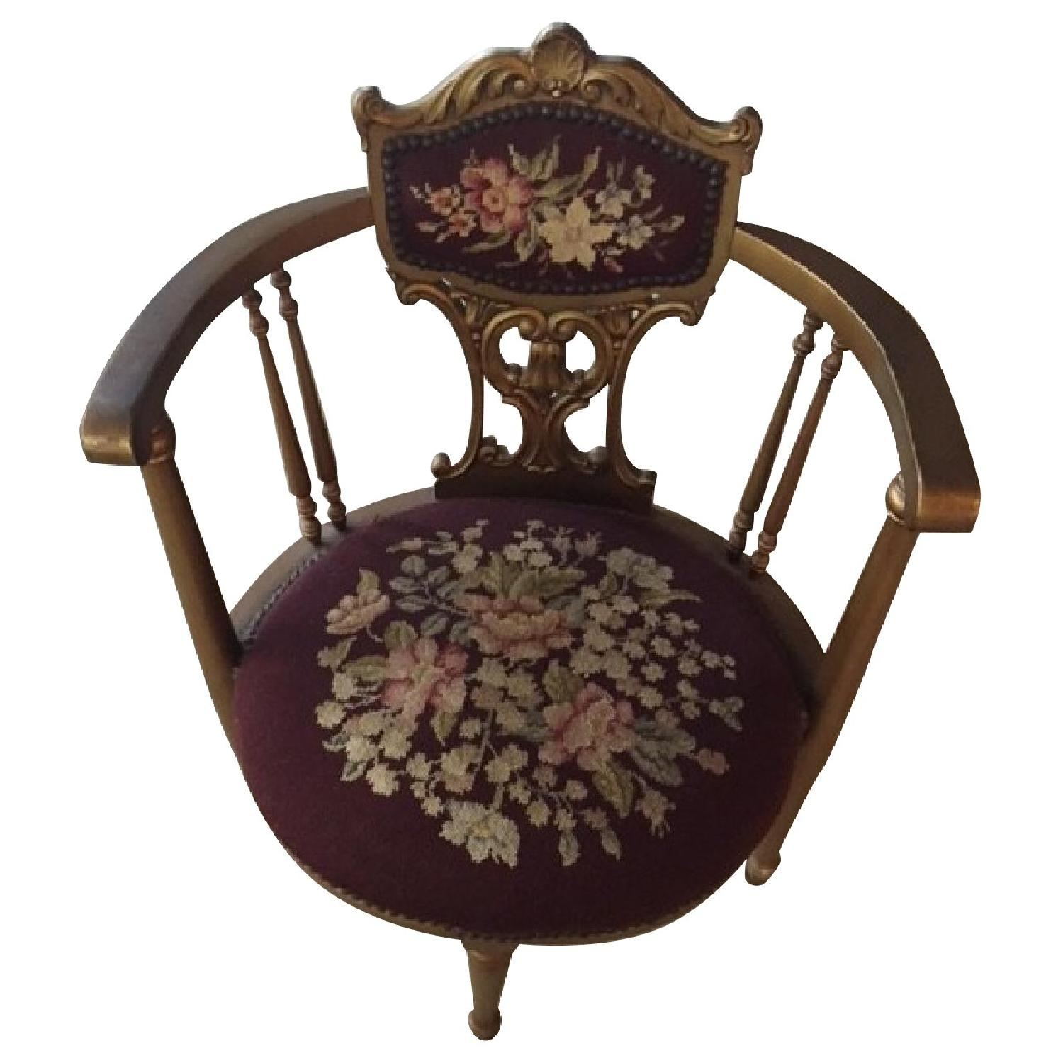 Antique French Provincial Giltwood Chair - image-0