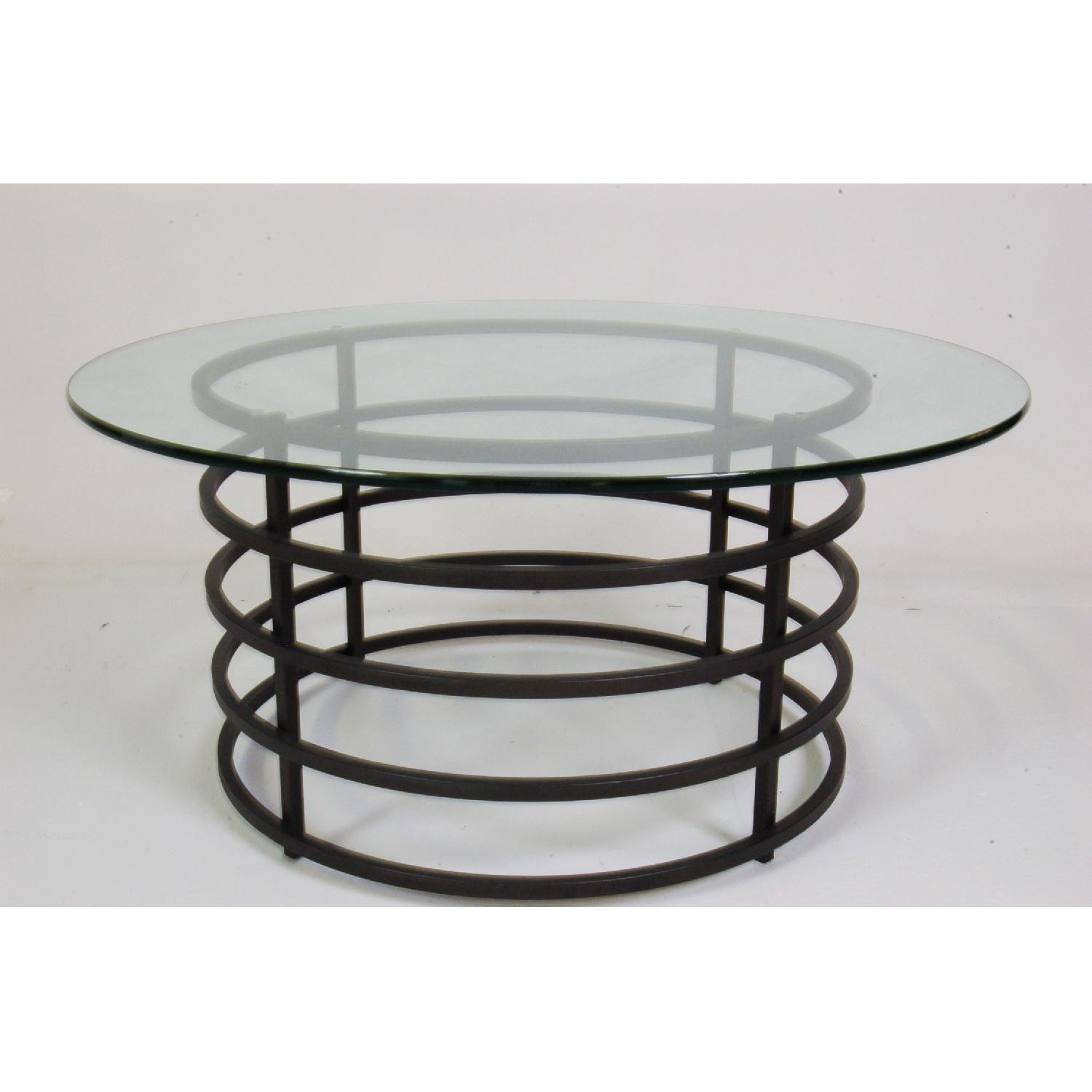 Modern Round Glass-Top Coffee Table - image-1