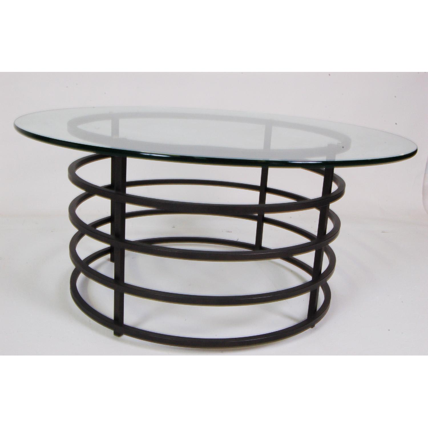 Modern Round Glass-Top Coffee Table - image-3