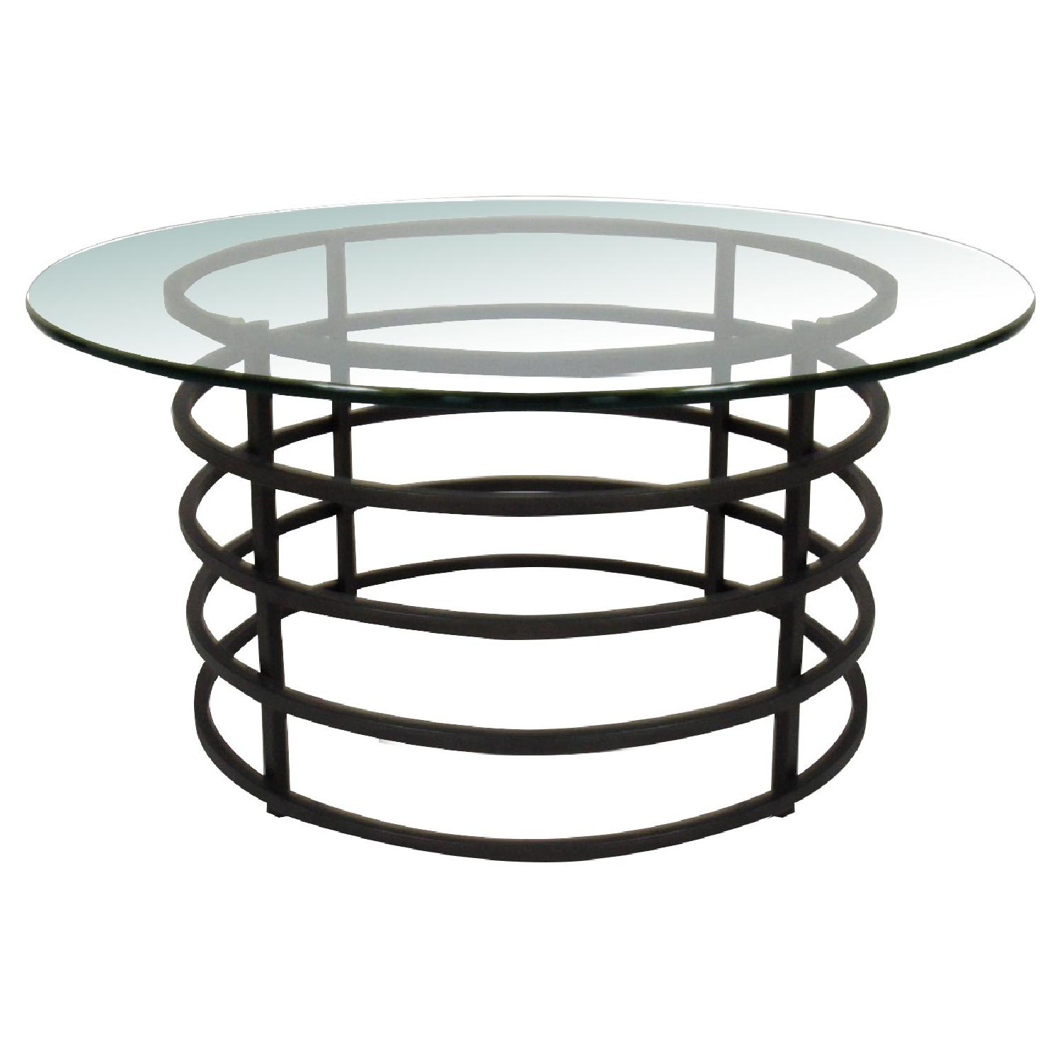 Modern Round Glass-Top Coffee Table - image-0
