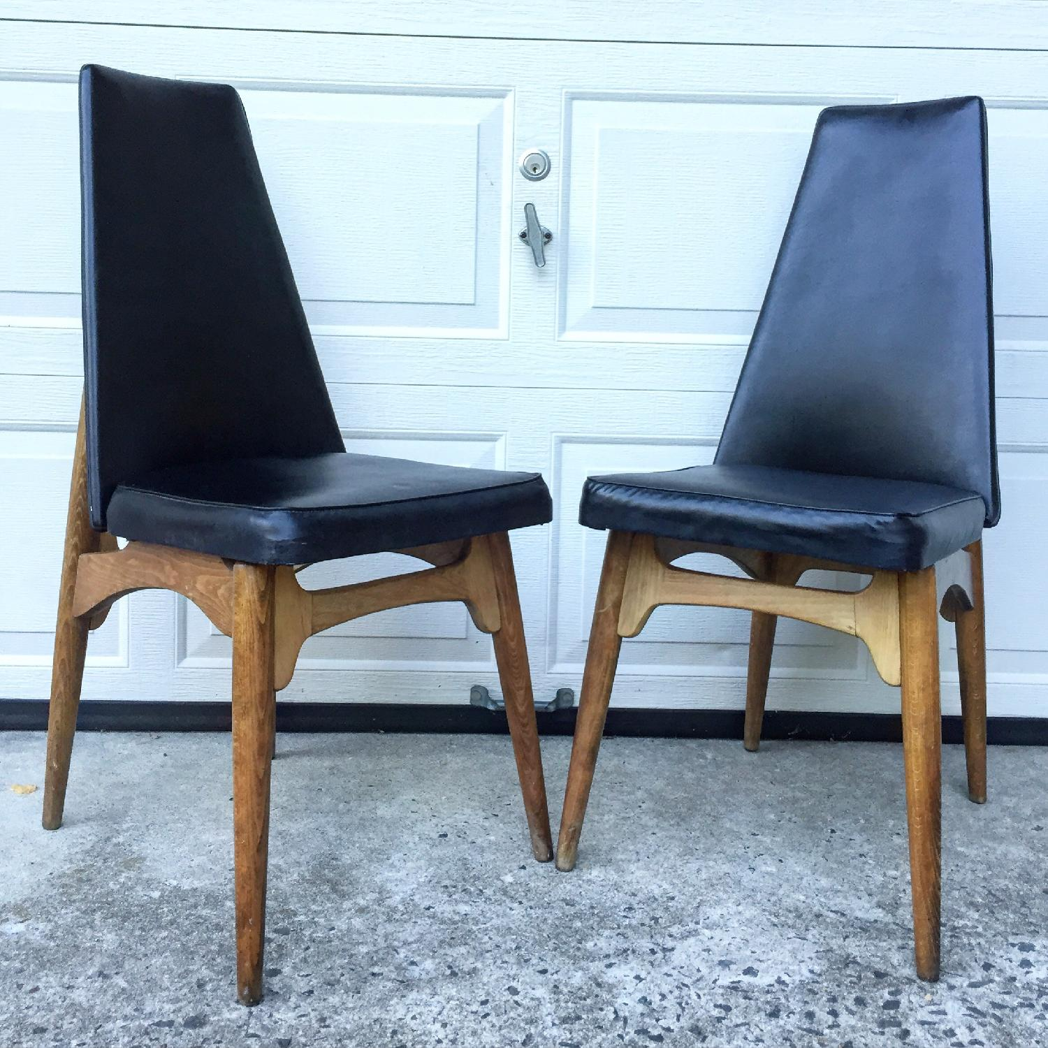 Mid Century Modern High Back Chairs with Black Vinyl - Pair
