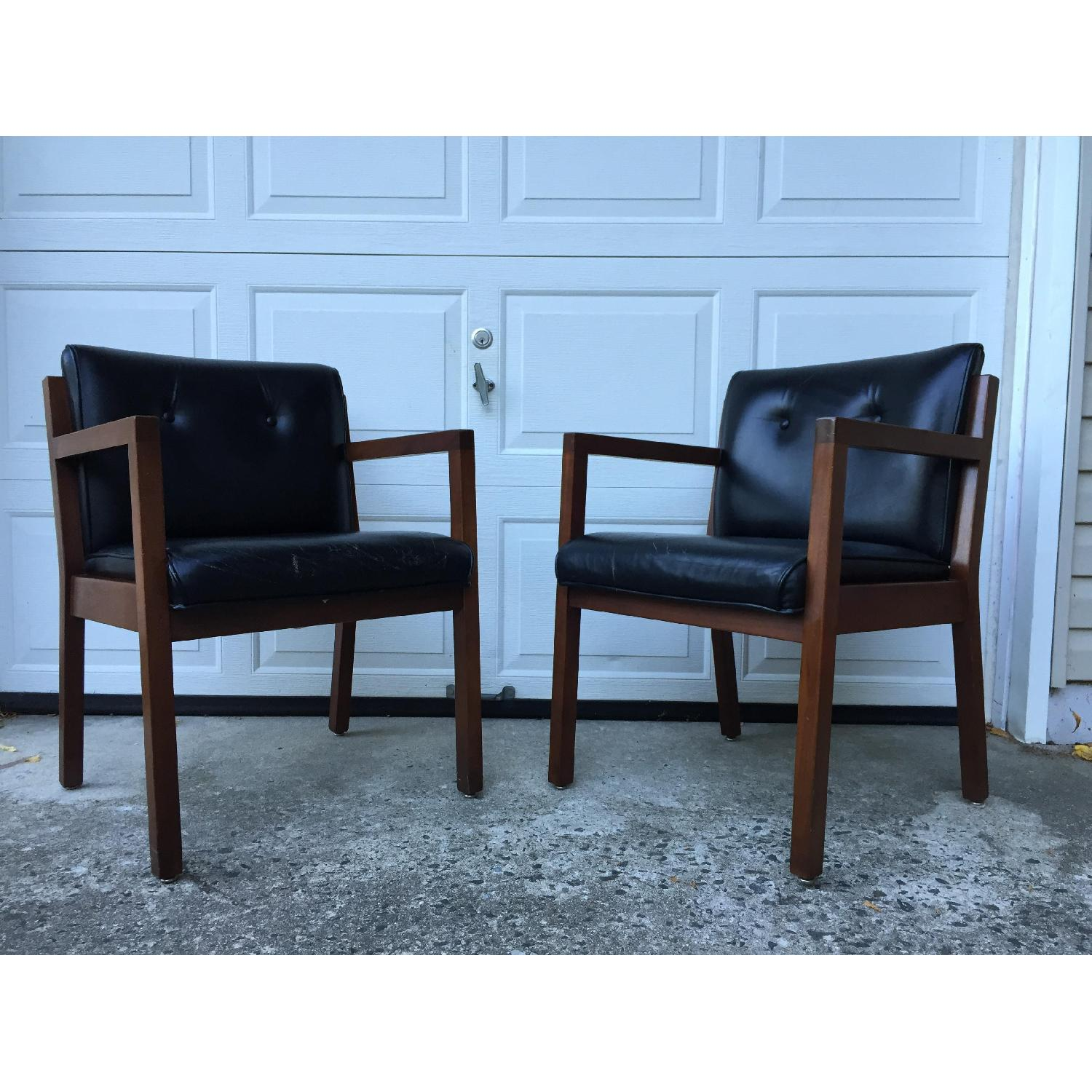 Jasper Chair Company Mid Century Modern Walnut Frame Chairs - Pair - image-1