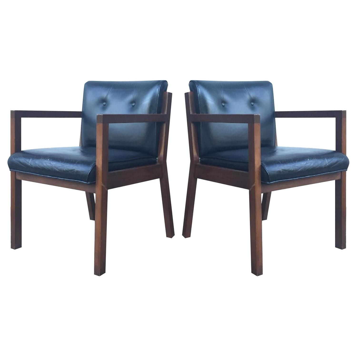 Jasper Chair Company Mid Century Modern Walnut Frame Chairs - Pair - image-0