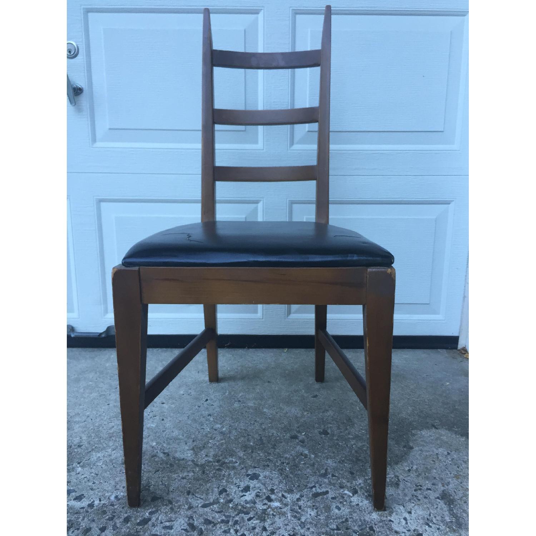 Mid Century Modern Ladder Back Chair with Black Vinyl - image-1
