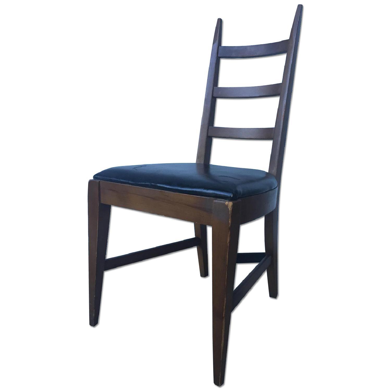 Mid Century Modern Ladder Back Chair with Black Vinyl - image-0