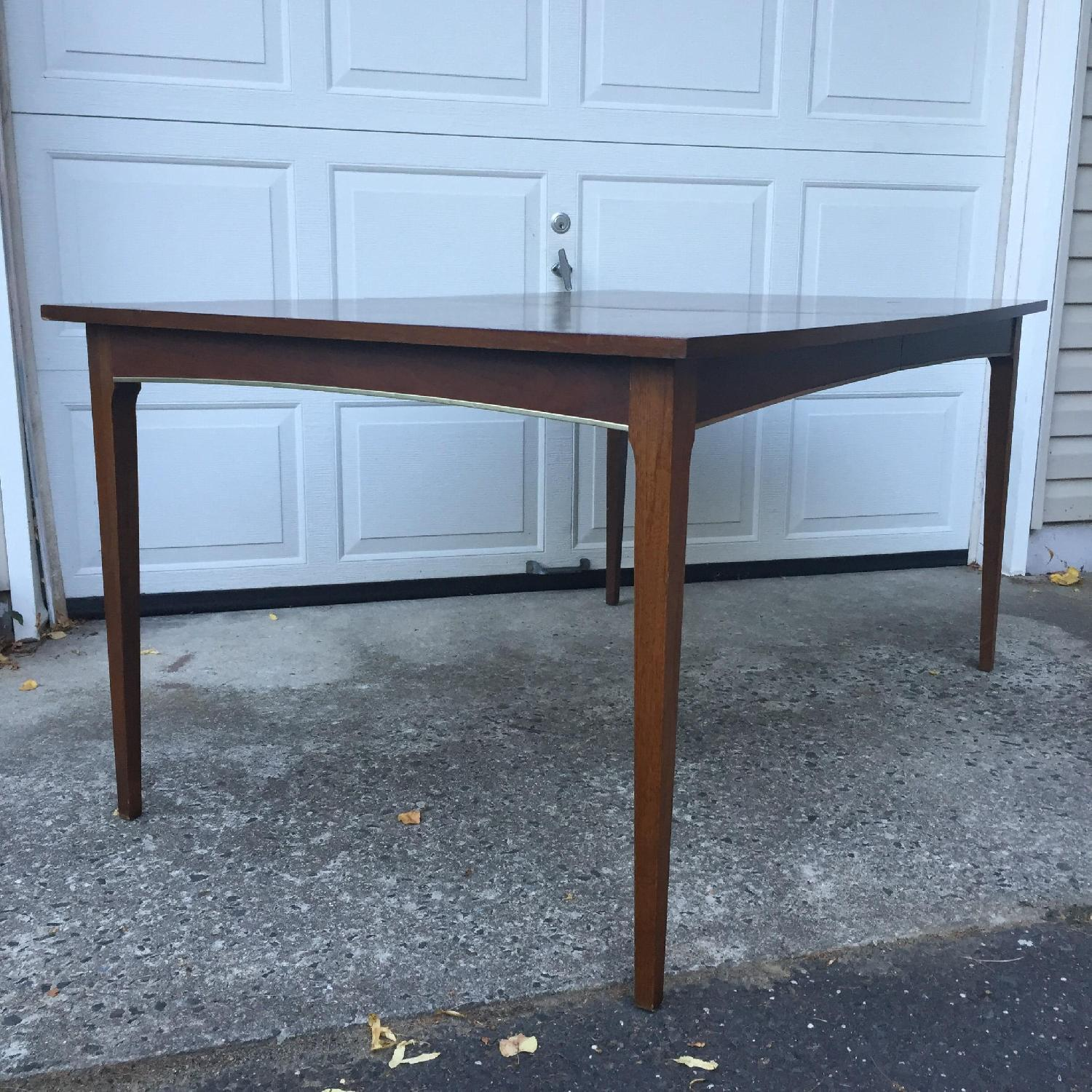 Mid Century Modern Walnut Dining Table with Brass Accents - image-1