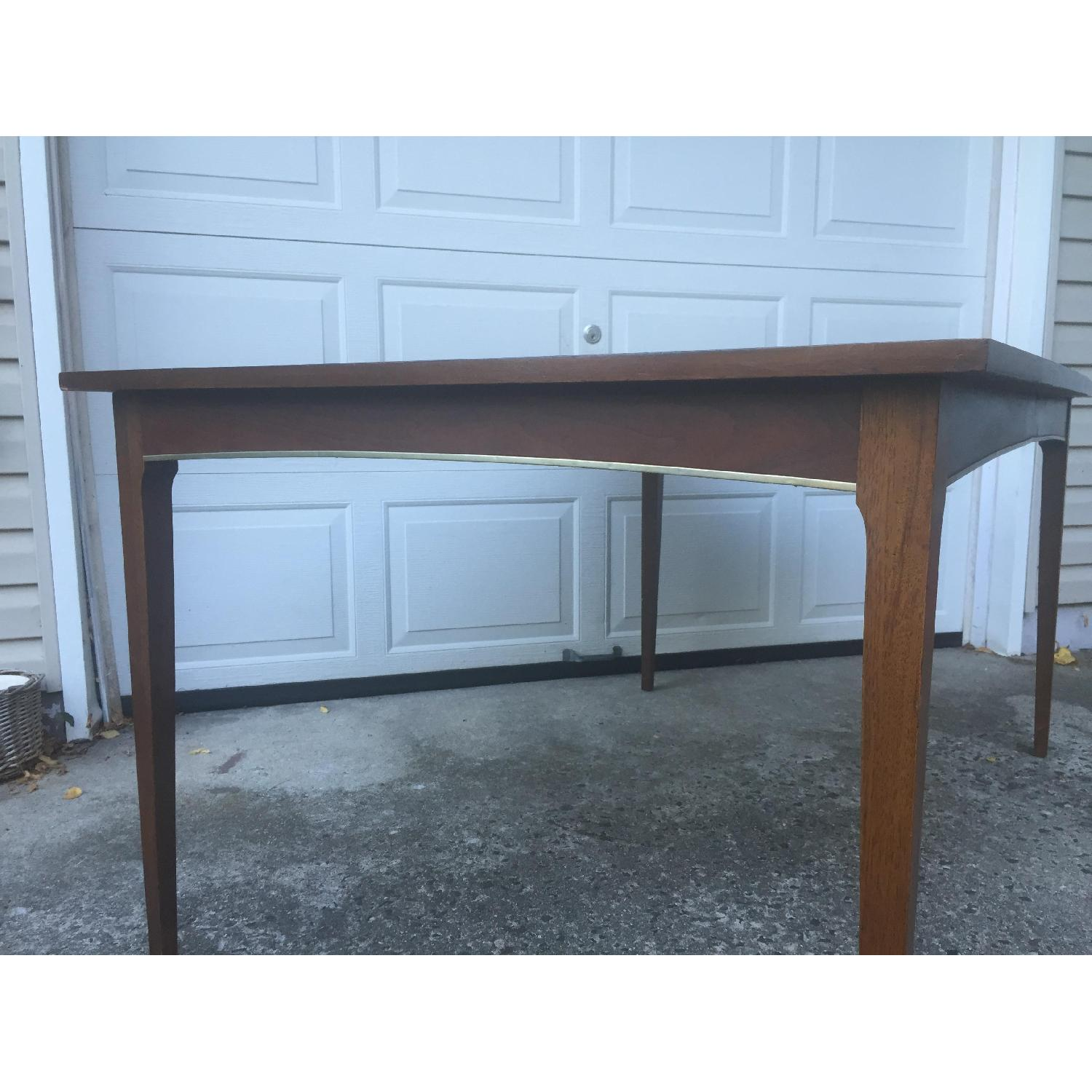 Mid Century Modern Walnut Dining Table with Brass Accents - image-2