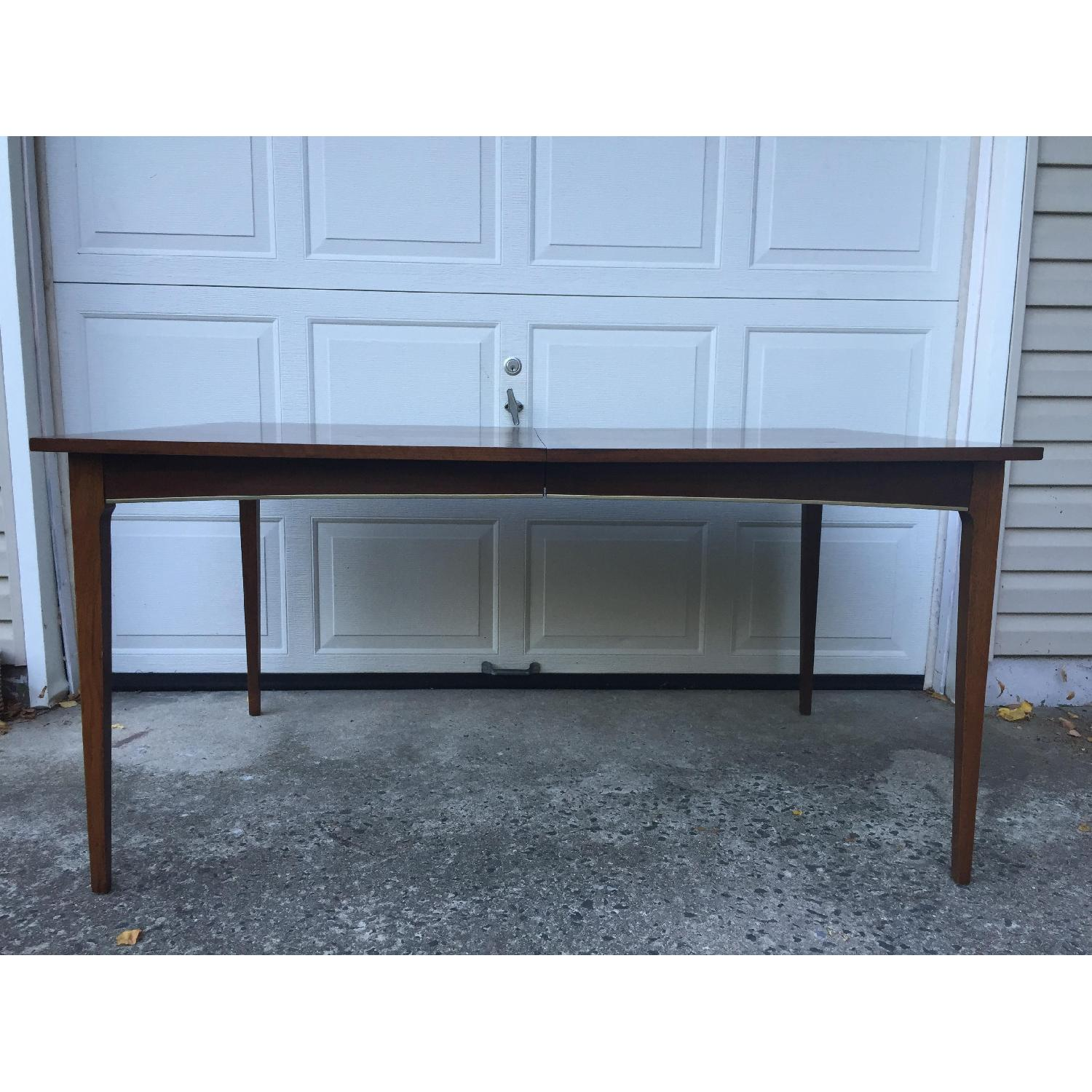Mid Century Modern Walnut Dining Table with Brass Accents - image-3