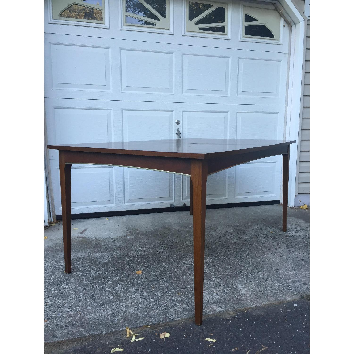 Mid Century Modern Walnut Dining Table with Brass Accents - image-4