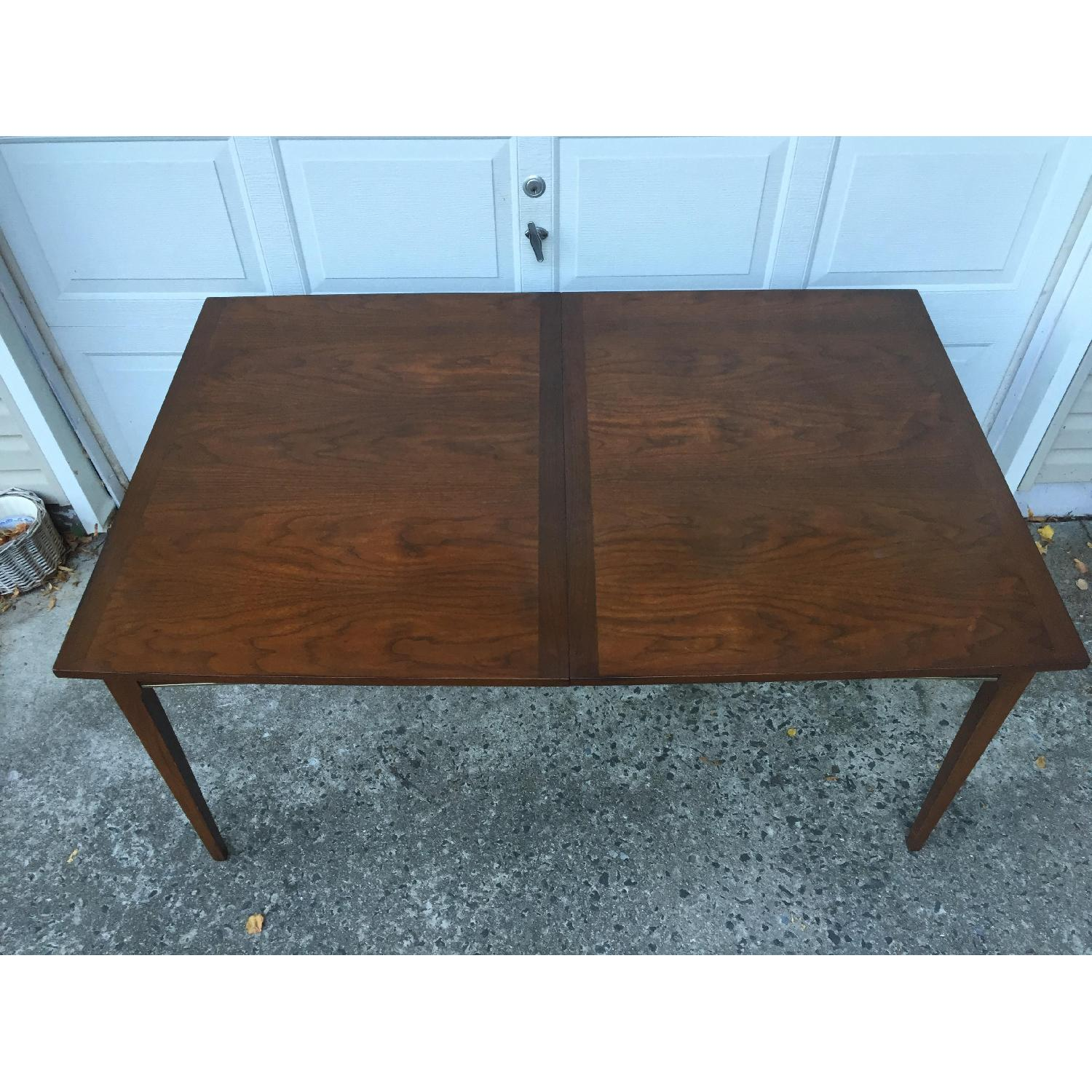 Mid Century Modern Walnut Dining Table with Brass Accents - image-5